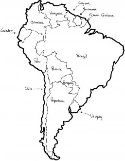 Uruguay is on the east coast of South America, between Brazil and Argentina.