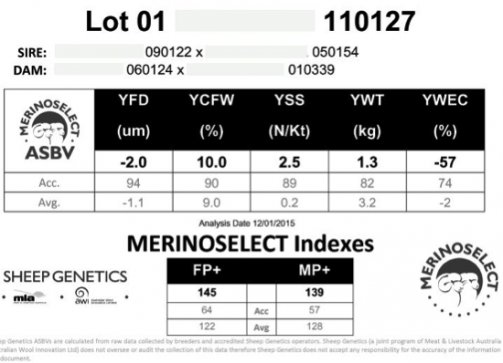 Figure 1. Ram sale pencard showing WEC ASBV